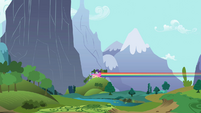 Rarity and Spike saved by their pegasi friends in the last second S02E10