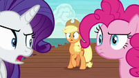 Rarity glaring back at Applejack S6E22