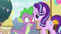 Spike blushing and running after Ember S7E15