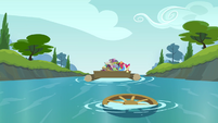 Steering wheel lands in river S4E09