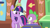 Twilight & Spike sharing smiles S3E13