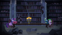 Twilight Sparkle and Spike researching S4E03