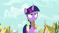 Twilight Sparkle covered in sweets S7E14