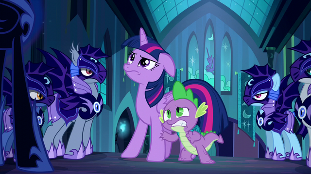 File:Twilight and Spike look at Nightmare Moon S5E26.png