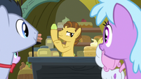 Young Grand Pear selling pears S7E13