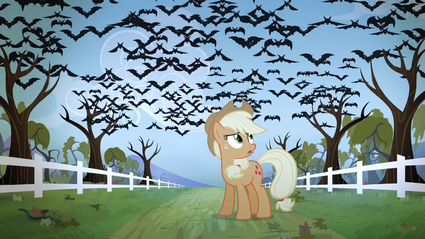 Applejack sees the bats flying in the sky S4E07