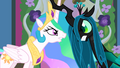Celestia and Chrysalis lock horns S02E26.png