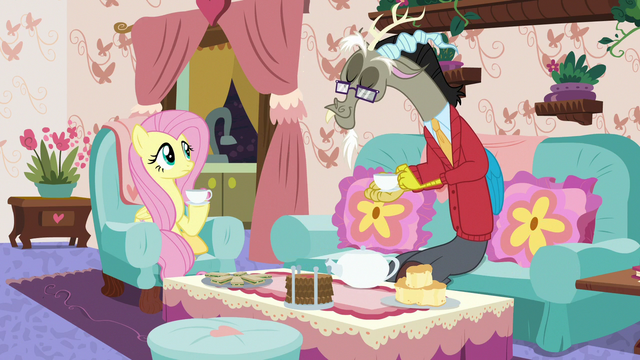 """File:Fluttershy and Discord's """"normal"""" tea party S7E12.png"""