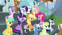 Main ponies in the bleachers again S8E20