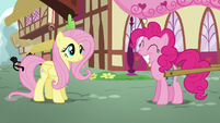 Pinkie Pie squees while grinning S5E19