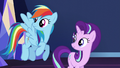 Rainbow and Starlight hear Spike enter S6E1.png