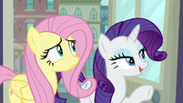 Rarity pointing at traditional section S8E4