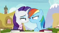 Rarity smug; Rainbow Dash scowling S8E17