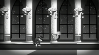 Screen turns black and white; Rarity walking and Rainbow flying S5E15