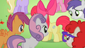 Students looking at Apple Bloom's cutie mark S2E06.png