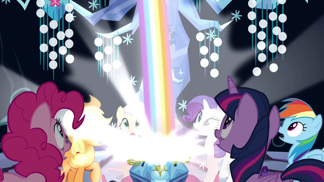 File:The Mane 6 sees a rainbow coming out of the chest S4E26.png