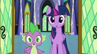 Twilight and Spike enter the castle throne room S8E15