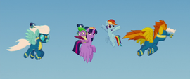 Wonderbolts fly around Twilight and Rainbow MLPTM