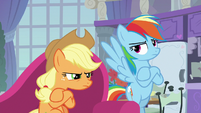 Applejack and Rainbow Dash very annoyed S8E9