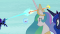 Celestia and Luna watch Nightmare Moon and Daybreaker battle S7E10.png