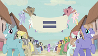 Creepy smiling ponies with equals sign banner S5E1