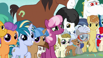 Crowd of ponies the Crusaders helped S9E12