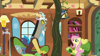 Discord makes a tree appear in Fluttershy's tree S7E12