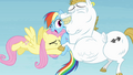 Fluttershy and Bulk hugging Rainbow S4E10.png