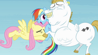 Fluttershy and Bulk hugging Rainbow S4E10