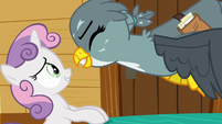 Gabby gets excited in Sweetie Belle's face S6E19