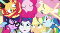 Mane Seven literally put their heads together EGS1.png