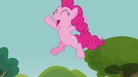 Pinkie Pie jumping off swing into water S3E3