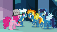 Pinkie Pie questioning the Wonderbolts S7E23