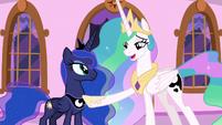 Princess Celestia appreciates her sister's effort S7E10
