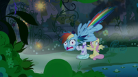 Rainbow Dash diving out of the sky S9E17