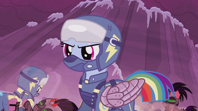 File:Rainbow Dash in Wonderbolt battle garb S5E25.png