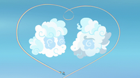 Rainbow makes heart-shaped rainbow around cloud sculptures S7E7