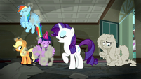 "Rarity ""No need to fret""; RD, AJ, and Twilight shakes dust off S6E9"