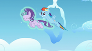Starlight and Rainbow Dash fly together S5E26