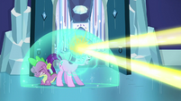 Starlight forms shield bubble around her and Spike to deflect magic beam S6E2