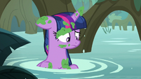 Twilight Sparkle covered in swamp moss S8E13