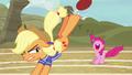 Applejack bucks the ball over Pinkie Pie S6E18.png