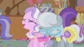 Diamond Tiara and Silver Spoon laugh at Apple Bloom S01E12.png