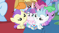 Flurry Heart smothered by other baby ponies S7E22