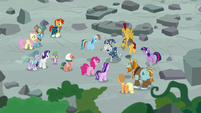 Mane Six and Pillars in the ruins of Ponhenge S7E26