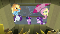 Pinkie Pie jumps out of the trapdoor S8E7