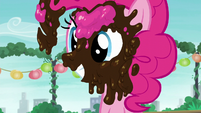 Pinkie Pie smiling and covered in ice cream S6E3