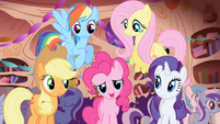 Pinkie and friends --she's so happy she's crying!-- S1E01