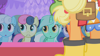 Ponies looking all shocked at Raritys redesigned dresses