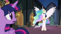 Princess Celestia begins to speak to Nightmare Moon S4E02